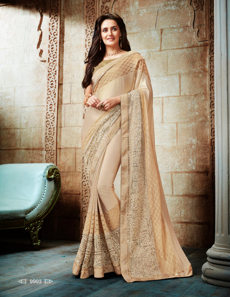 Shimmer And Lycra Brocade Saree With Blouse