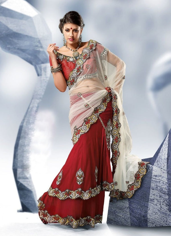 Net Chiffon Saree With Blouse