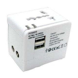 Eklasse Universal Travel Adapter With 2USB/5V/2.1A White EKTA2U03XM
