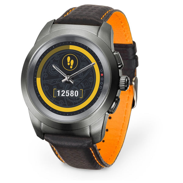 MyKronoz ZeTime Regular Premium Brushed Titanium/Black Carbon Orange Stitching