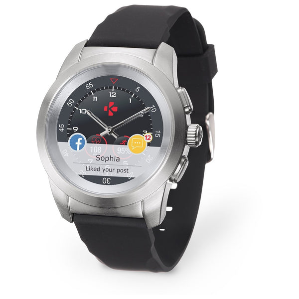 MyKronoz ZeTime Regular Original Brushed Silver/Black Silicone Flat