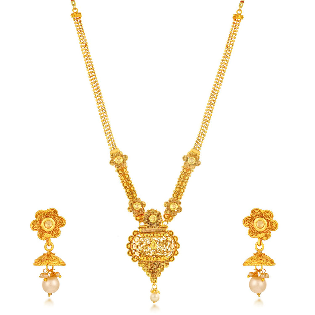 Sukkhi Sensational Gold Plated Jalebi With 3 String Long Haram Combo Of Necklace Set With Maang Tikka For Women