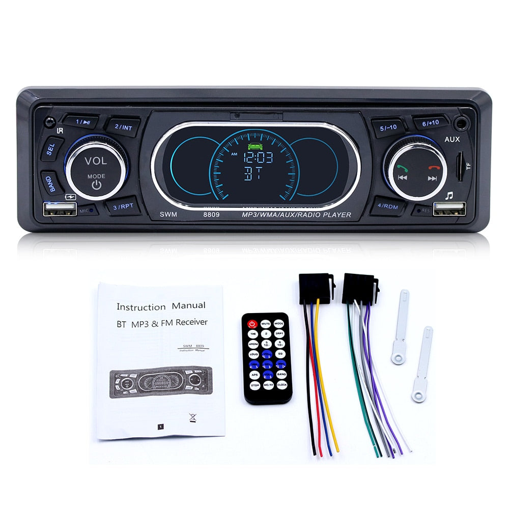 1 Din Bluetooth 4.0 car radio Stereo Audio AUX TF U disk MP3 Player FM function RCA output dual USB for phone charge LCD display