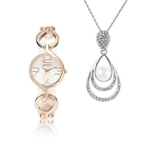 1 Set Sweet Pearl Water Drop Necklace &  Elegant Quartz Watch Gift For Women