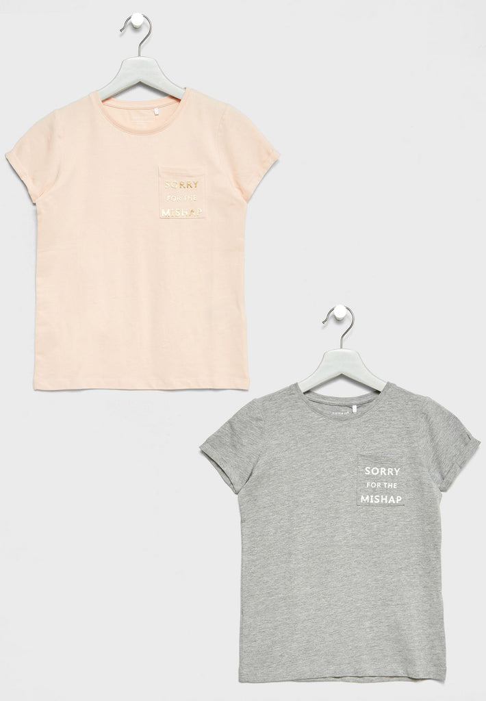 NAME IT Little 2 Pack Slogan T-Shirts