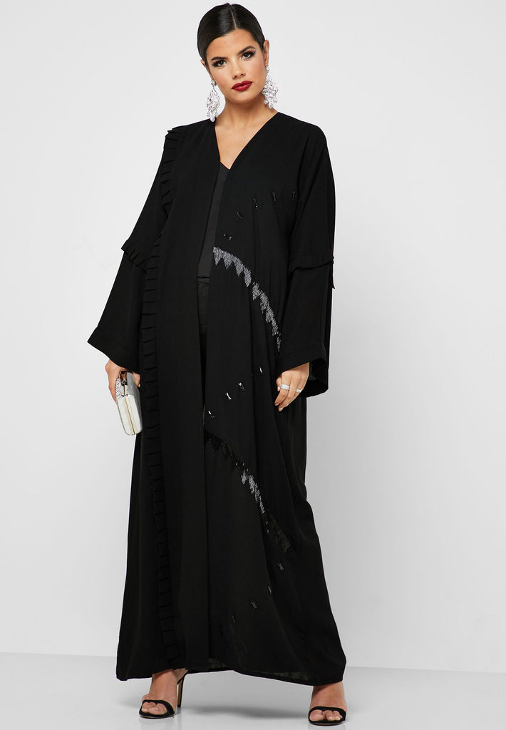 Pleated Detail Embellished Abaya