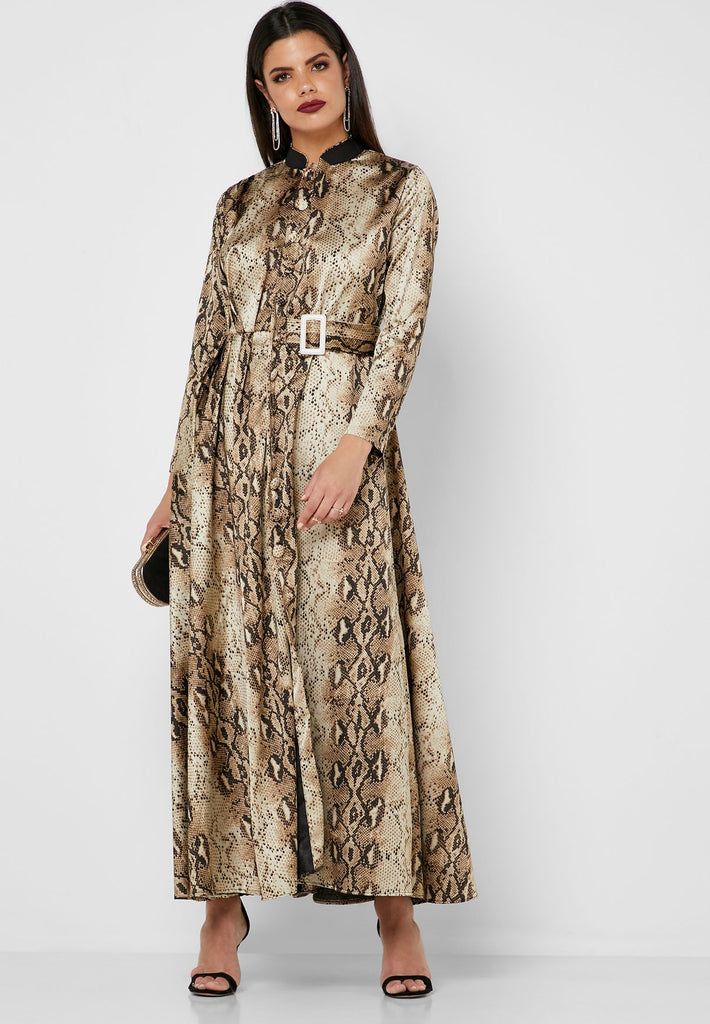 Snake Print Pleated Maxi Dress