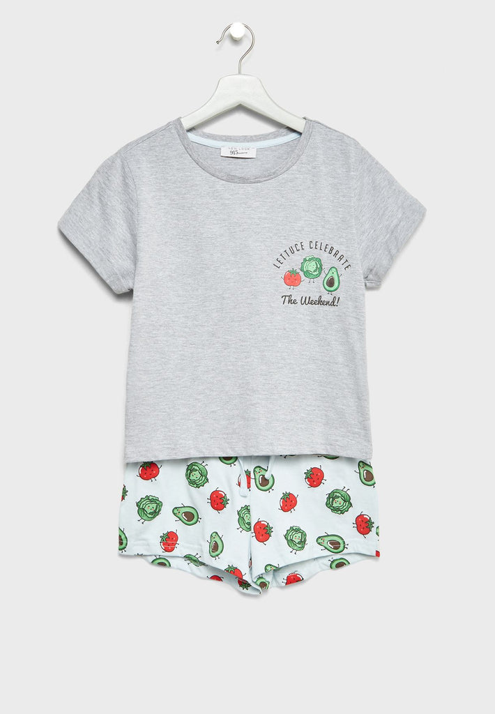 NEW LOOK  Teen T-Shirt + Pyjama Shorts Set