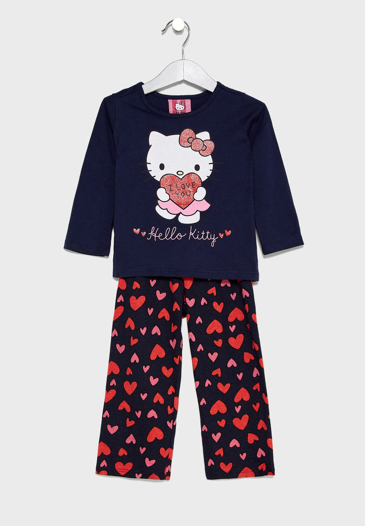 HELLO KITTY  Kids Logo Printed Pyjama Set