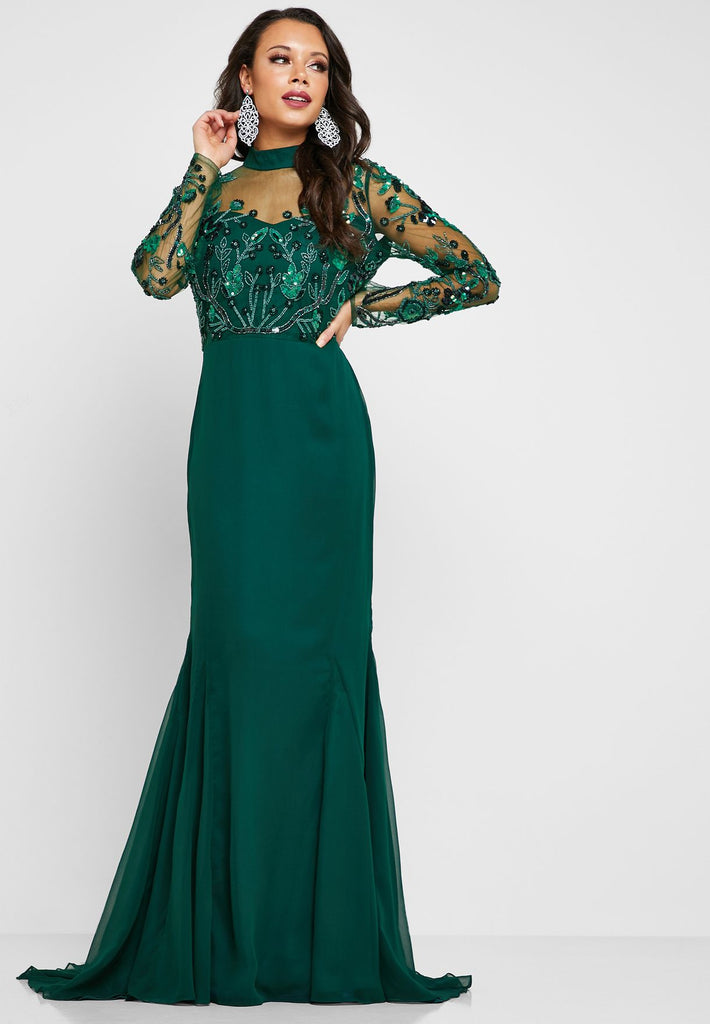 Colly Embellished High Neck Maxi Dress