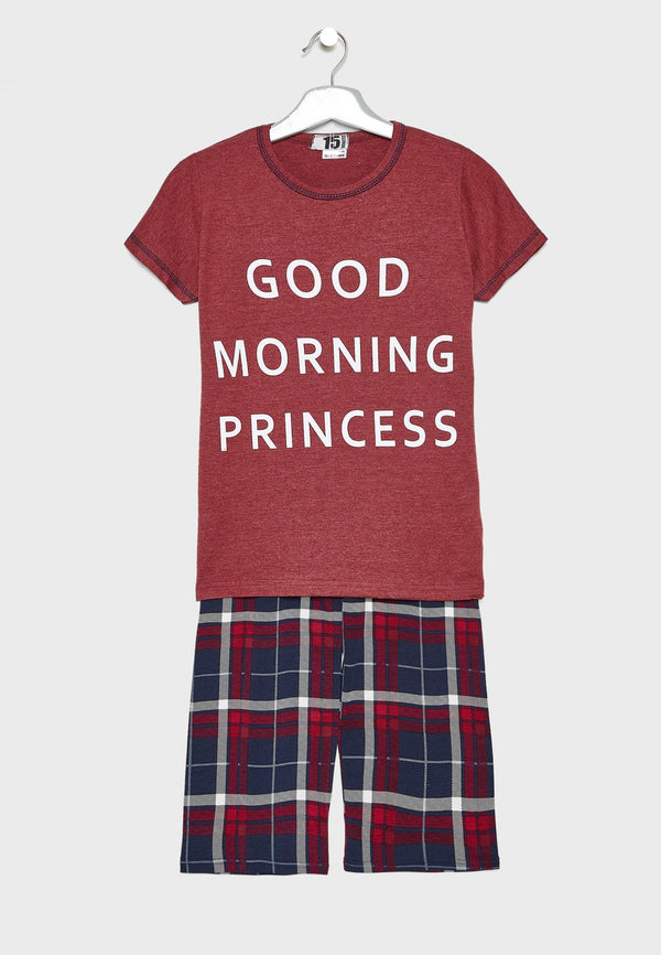 LOUNGE DISTRICT Slogan Check Pyjama Set
