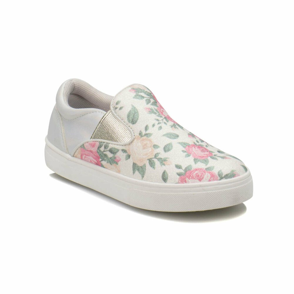 White loafers decorated with flowers pink green girls