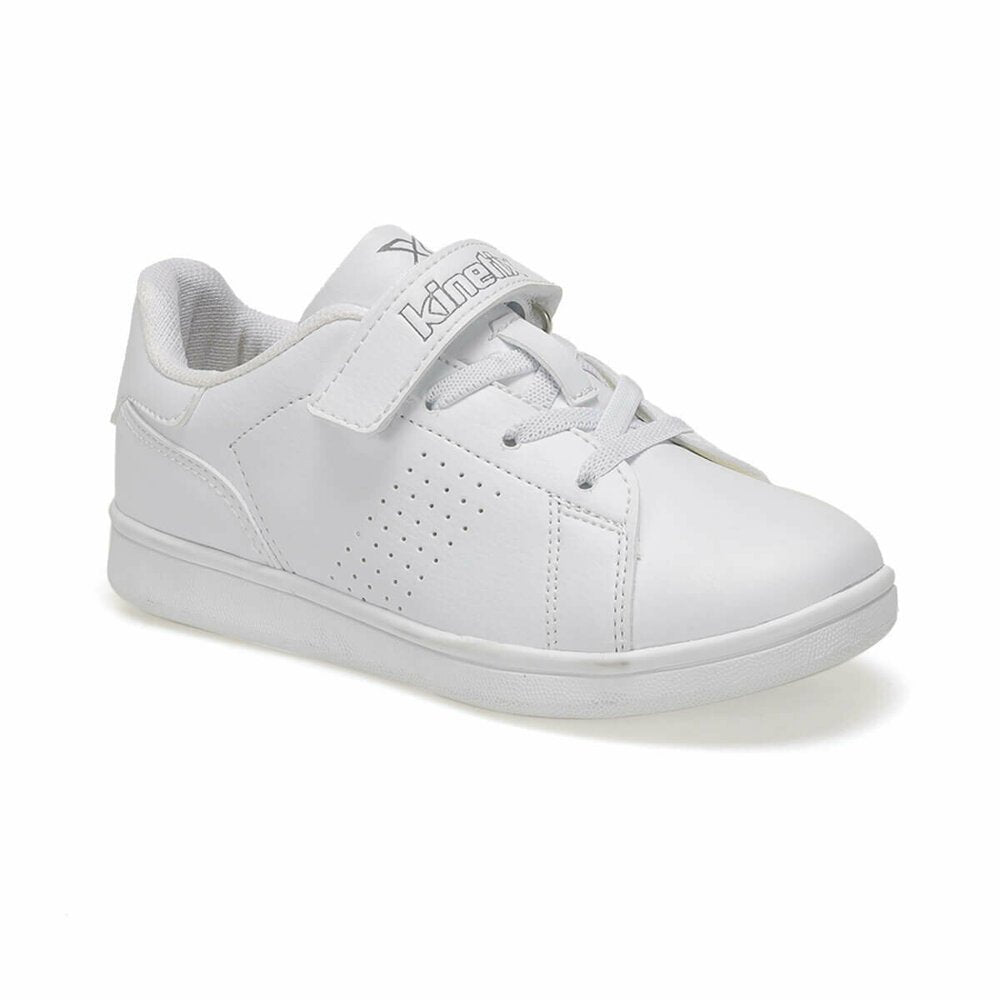 Girls white lace-up sneakers and velcro strap