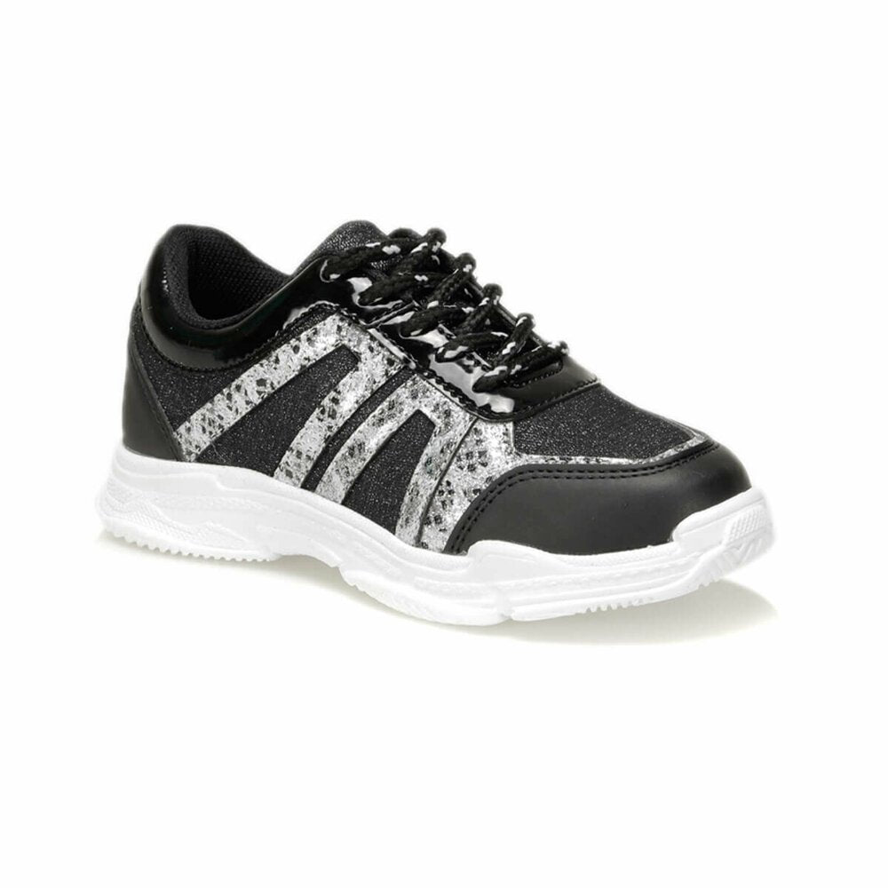 Girls black glitter sneakers