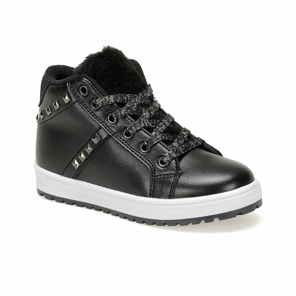 Girls black lace-up sneakers