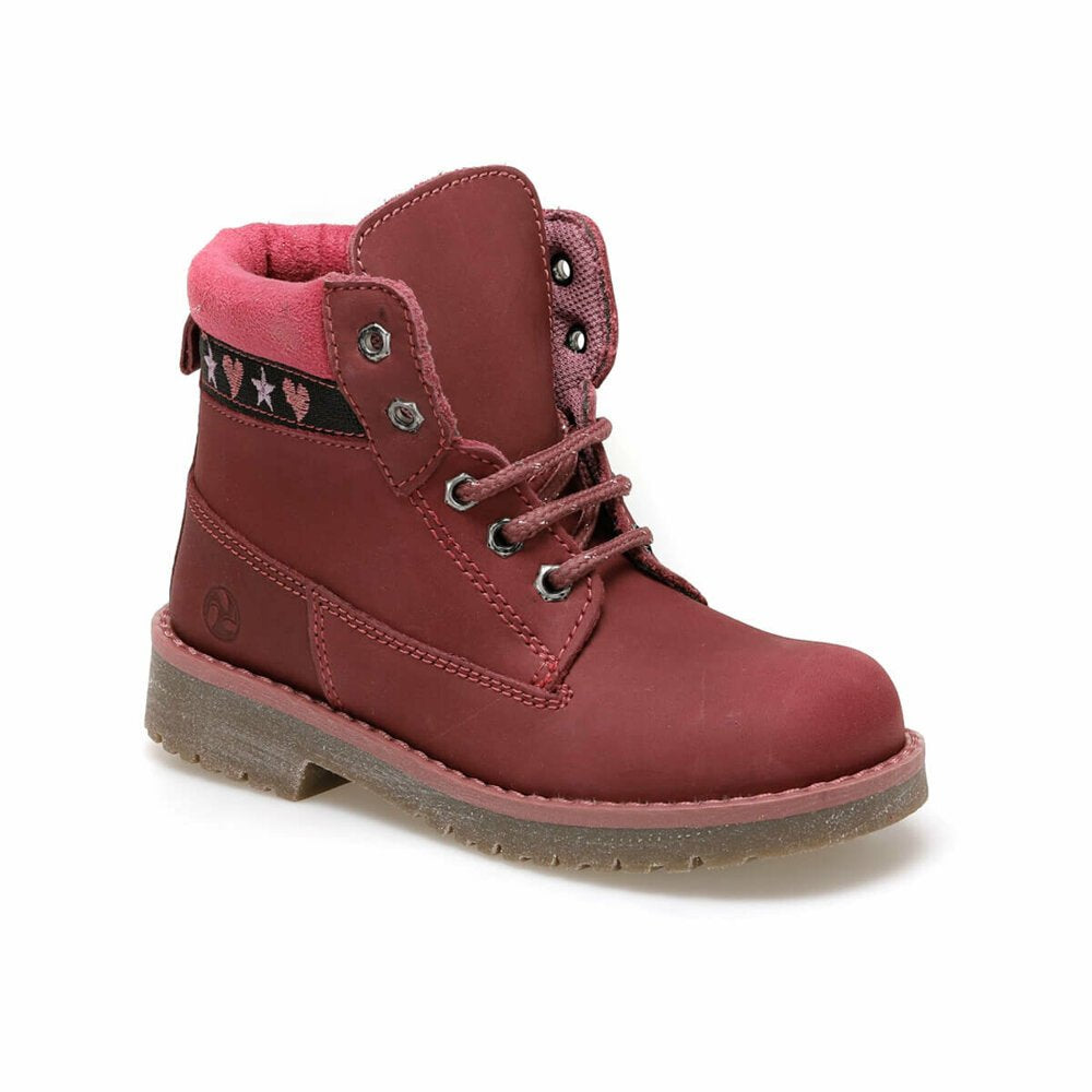 Burgundy girls' lace up boots