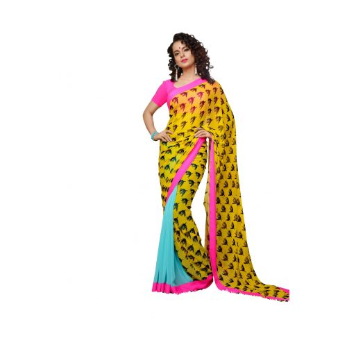 Mizzoli Multi Printed Georgette Saree