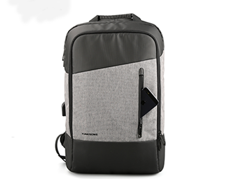 "Kingsons Smart Backpack 15.6"" Slim (Black Grey) (With USB Port) KS3161W"