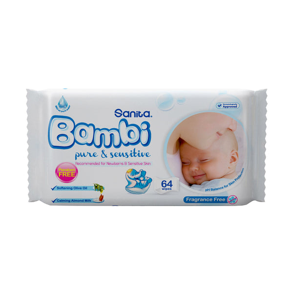 Sanita Bambi Wipes Pure & Sensitive 64pcs