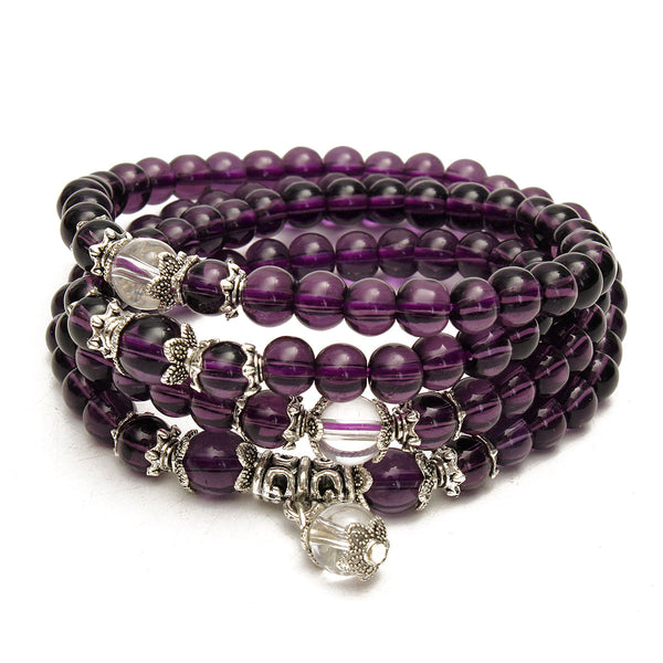 108pcs 6mm Amethyst Crystal Prayer Beads Multilayer Bracelet