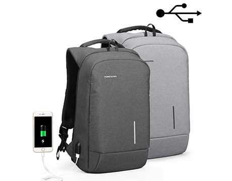 "Kingsons Smart Backpack 15.6"" (Dark Grey) (With USB Port) KS3149W-DG"