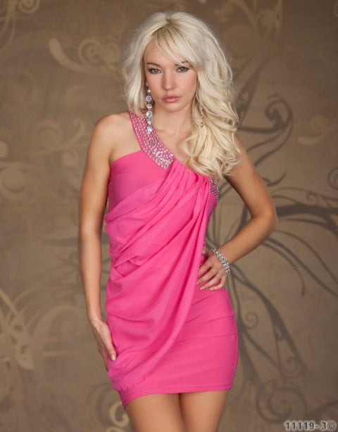 Free Size Pink Short Dress For Women
