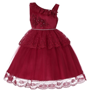LILAC Single shoulder Flower Girl  Dress (Red)