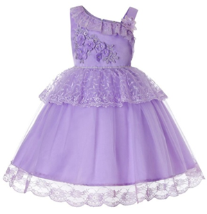 LILAC Single shoulder Flower Girl  Dress (Purple )