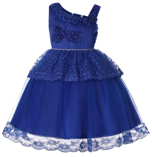 LILAC Single shoulder Flower Girl  Dress (Dark blue)