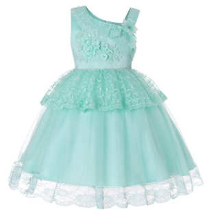 LILAC Single shoulder Flower Girl  Dress ( Green)