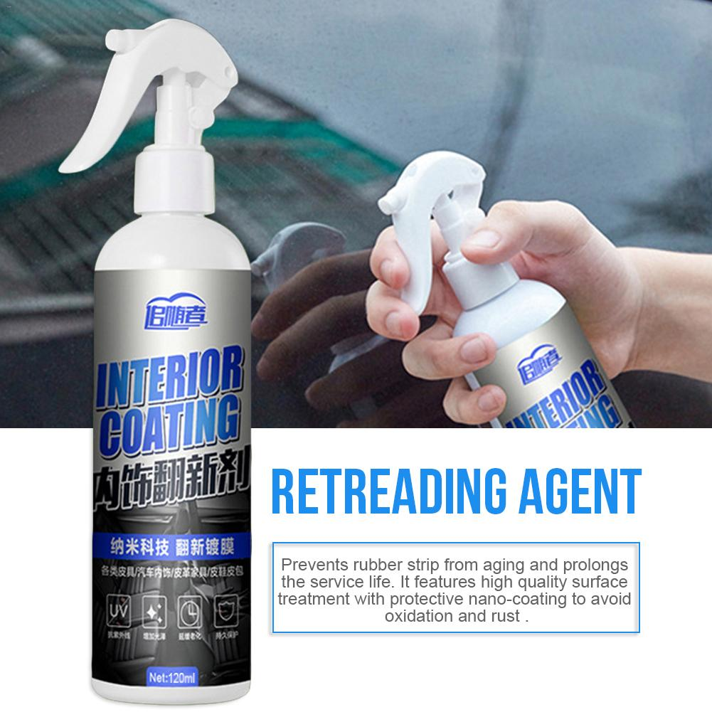 120ML Car Interior Decorative Wax Cleaner Agent Leather Dash Board Glazing Waterborne Panel Coating Plastic Renovation Agent