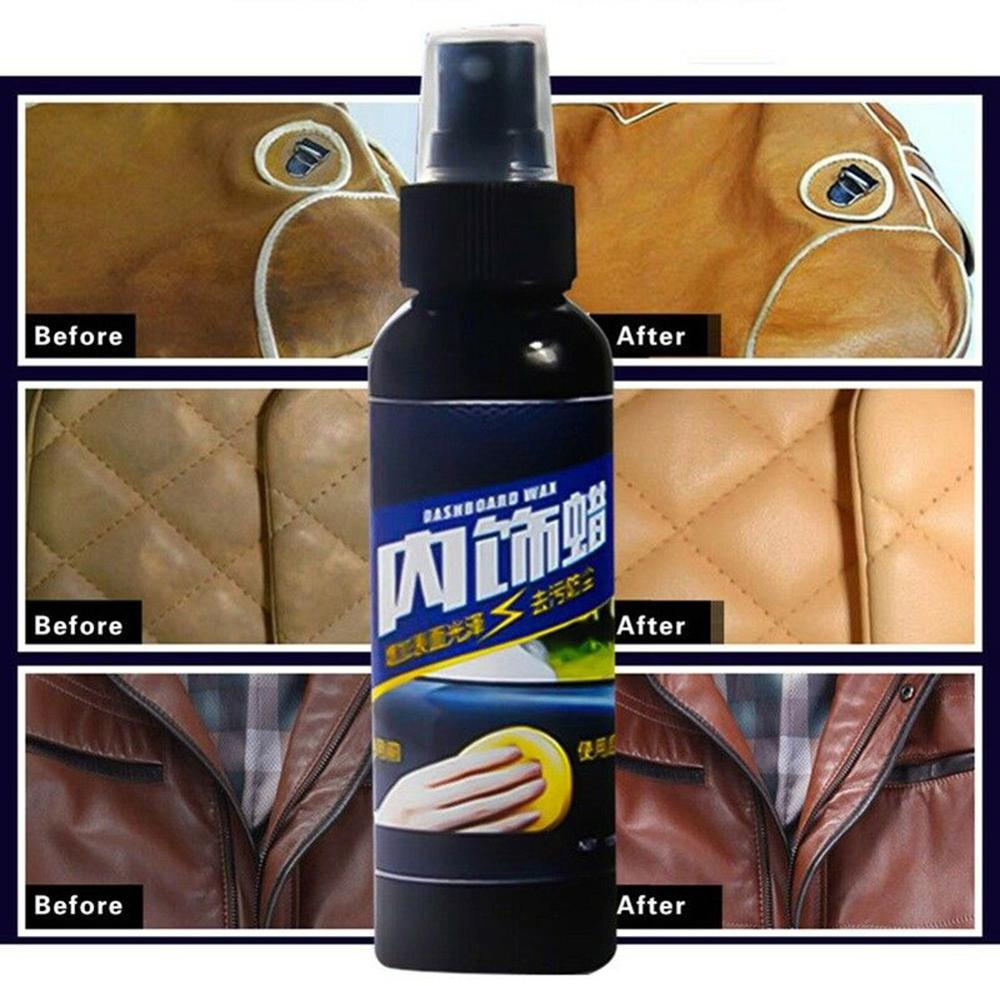120ml Interior Seat Polish Remover Stain Clean Sofa Wash Spray Table Wax Car Leather Refurbishment Care Agent