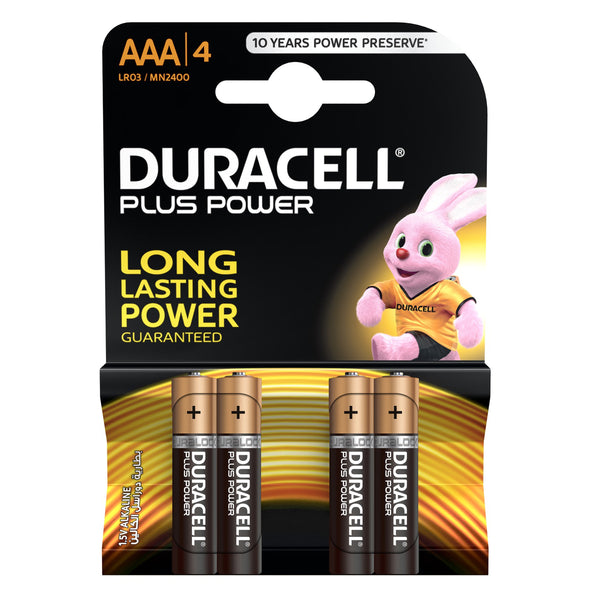 Duracell Plus Power Type AAA Alkaline Batteries 4pcs
