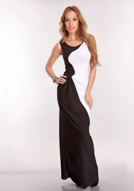Free Size Black & White Long Dress For Women