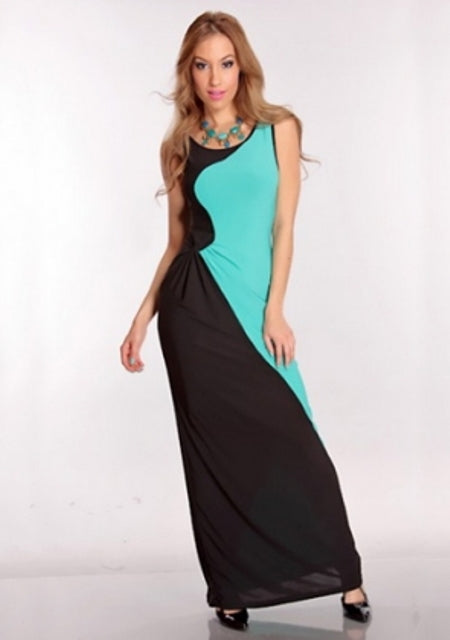 Free Size Black & Blue Long Dress For Women