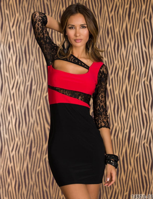 Free Size Black & Red Sexy Dress For Women
