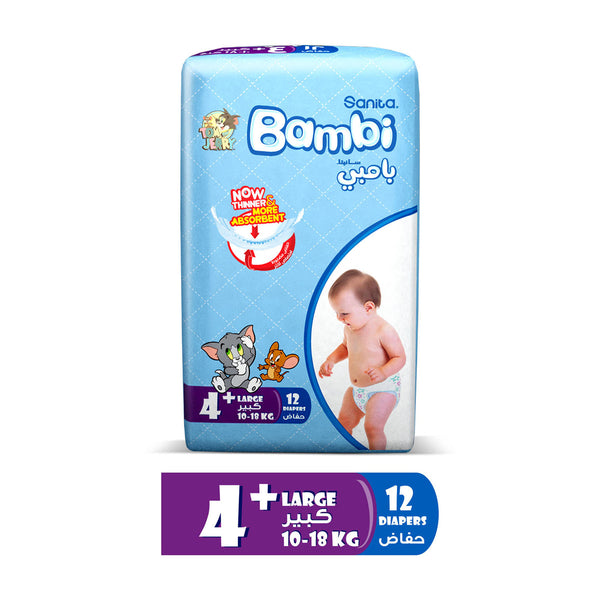 Sanita Bambi Baby Diapers Regular Pack Size 4+ Large plus 10-18kg 12pcs