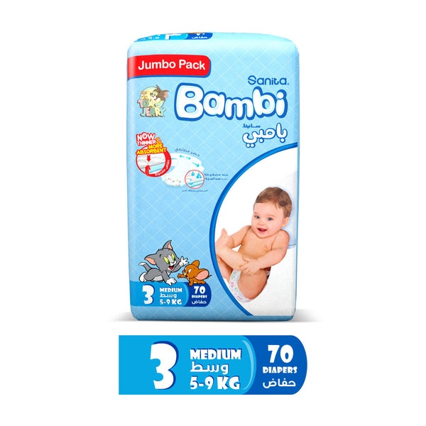 Sanita Bambi Baby Diapers Jumbo Pack Size 3 Medium 5-9kg 70pcs