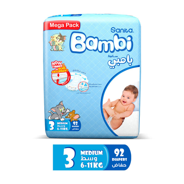 Sanita Bambi Baby Diapers Mega Pack Size 3 Medium 6-11kg 92pcs