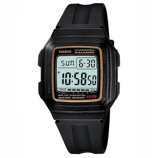 Casio Mens Resin Band Digital Watch F-201W-9DF