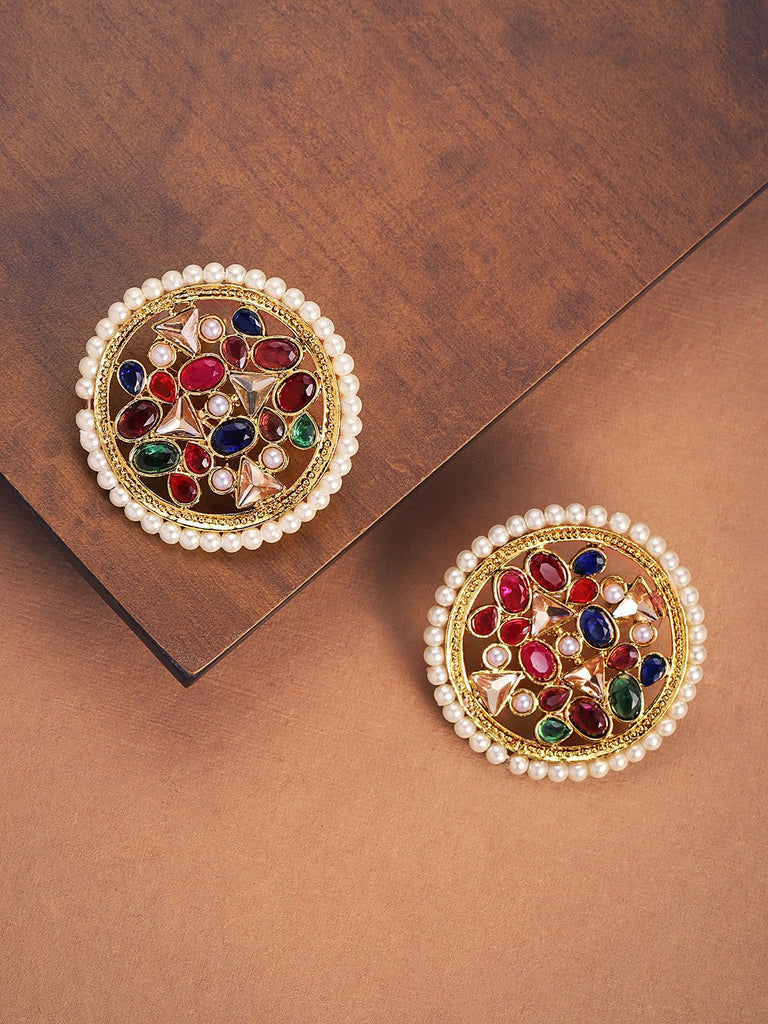 Floral Design Enamel Painted Kundan And Pearls Stud Earring By Zaveri Pearls