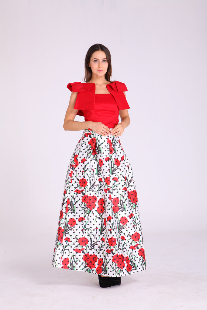 Skirts - White with Polka Dots & Floral Design
