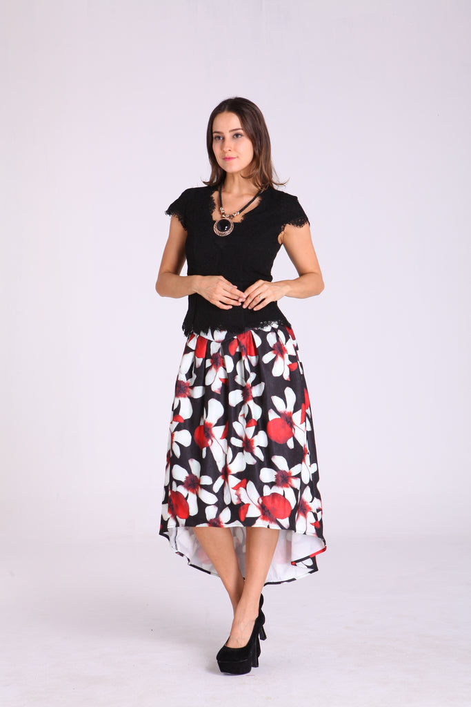 Skirts - Black with White & Red Floral Design