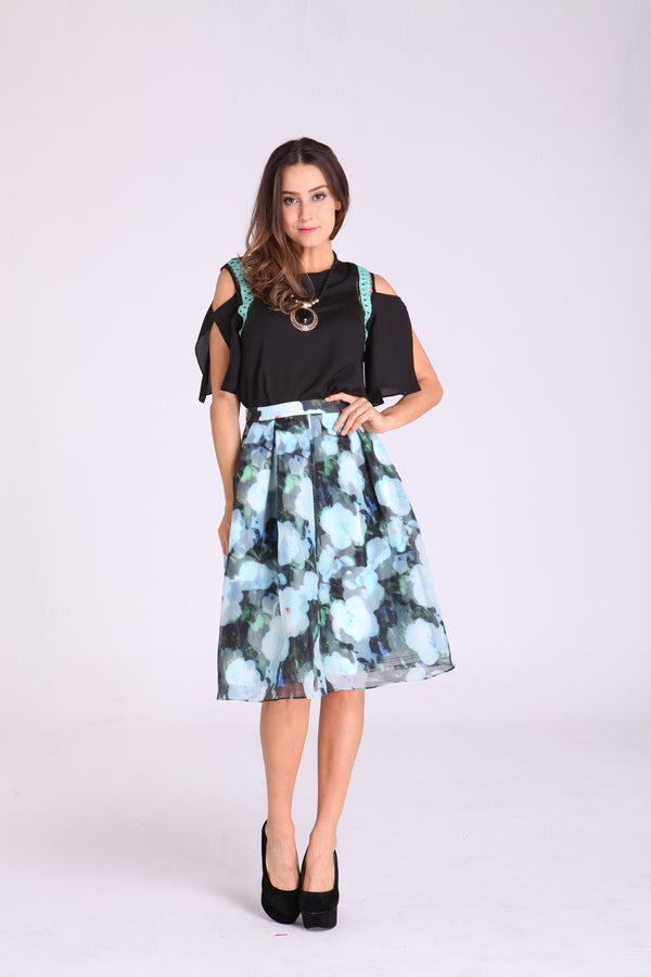 Skirts - Green with White Floral Design