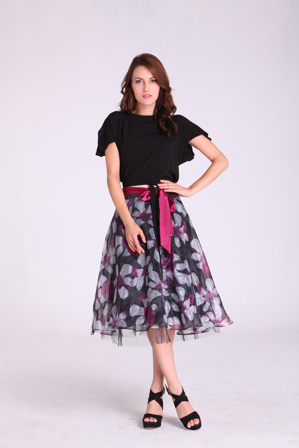 Skirts - Black with Violet/White Floral Design