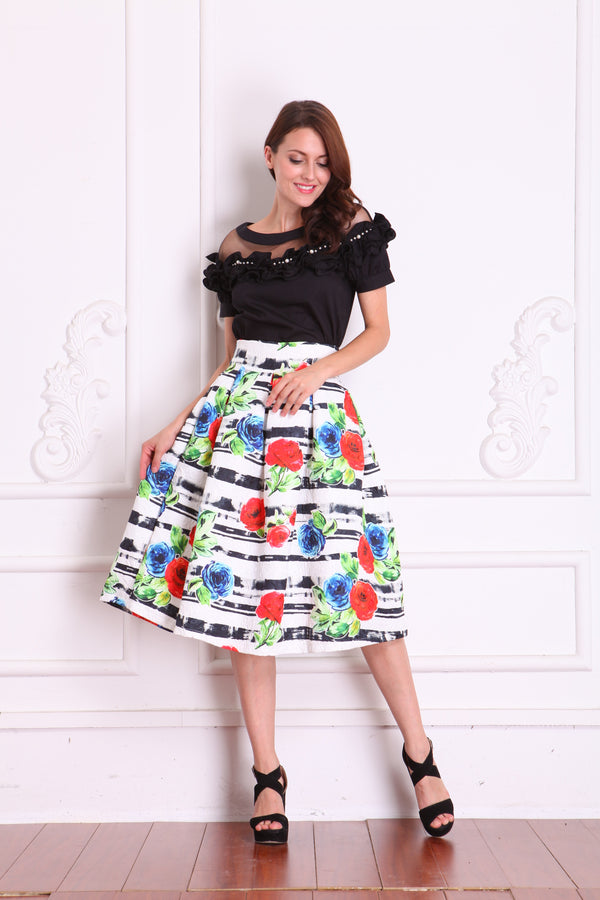 Skirts - White with Floral Design & Stripes Of Black