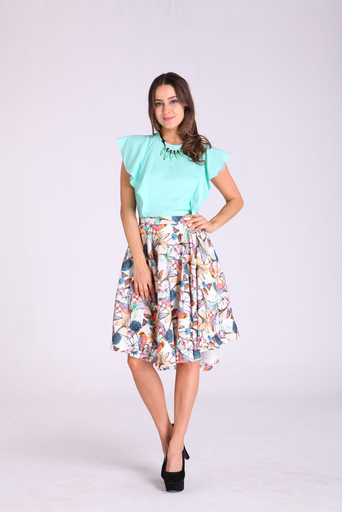 Skirts - Cream with Floral Design