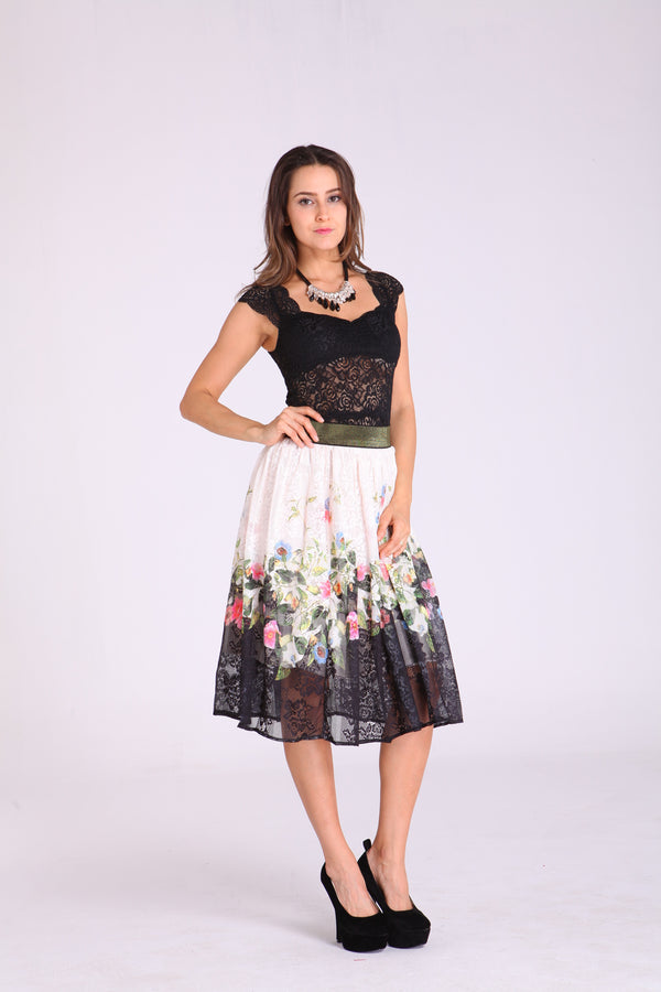 Skirts - Cream with Floral Design & Black Trim