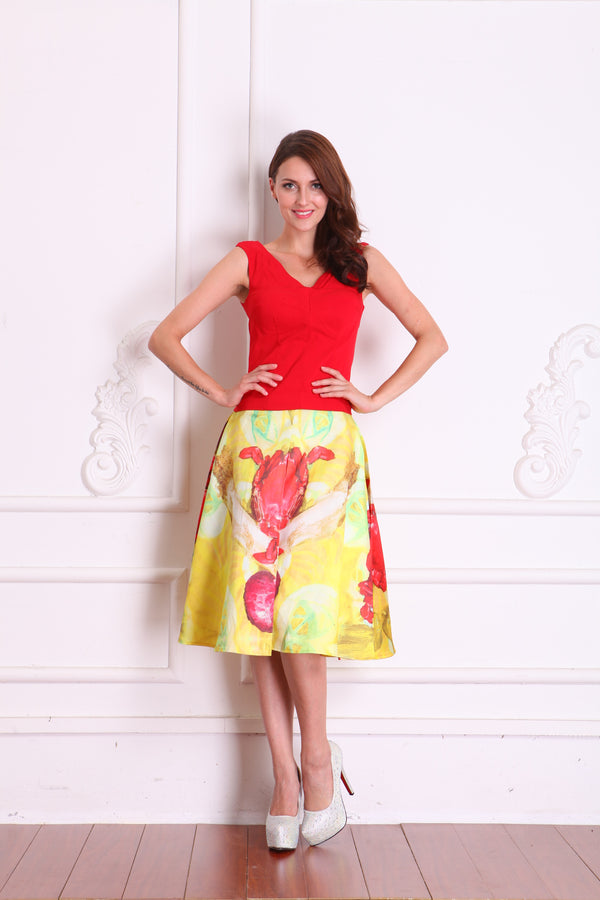 Skirts - Yellow with Red Floral Design