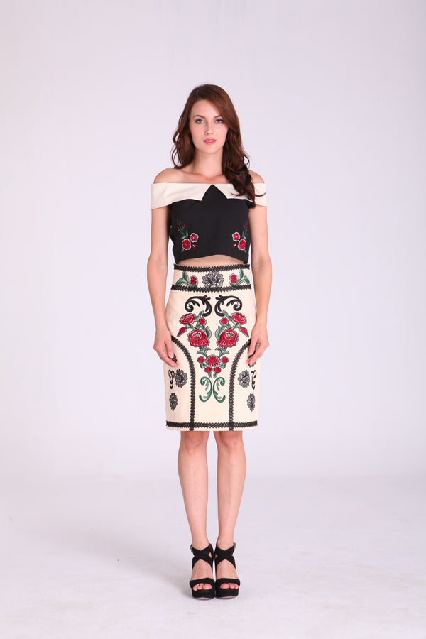 Skirts - Cream with Embroidered Floral Design